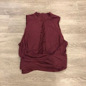 Free People Open Front Wrap Waist Crop Tank Size S